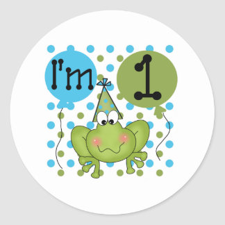 Blue Frog 1st Birthday Classic Round Sticker