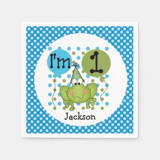 Blue Frog 1st Birthday Paper Napkins