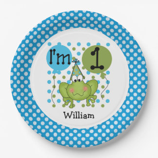 Blue Frog 1st Birthday Paper Plates
