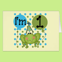 Blue Frog 1st Birthday Tshirts and Gifts Card