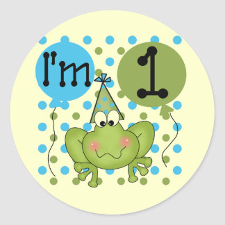 Blue Frog 1st Birthday Tshirts and Gifts Classic Round Sticker