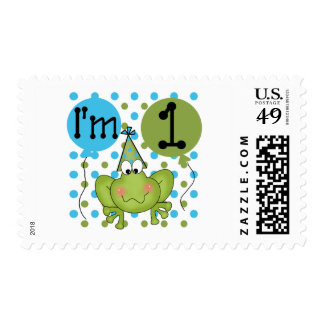Blue Frog 1st Birthday Tshirts and Gifts Stamps