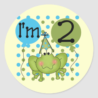 Blue Frog 2nd Birthday Tshirts and Gifts Classic Round Sticker