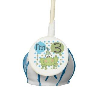 Blue Frog 3rd Birthday Cake Pops