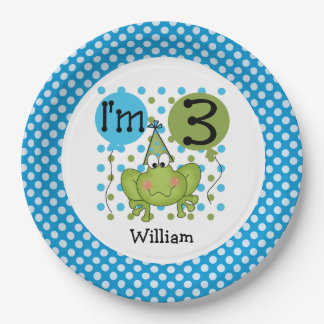 Blue Frog 3rd Birthday Paper Plates