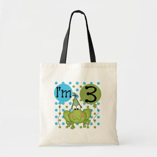 Blue Frog 3rd Birthday Tshirts and Gifts Budget Tote Bag