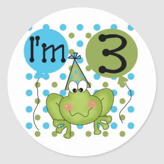 Blue Frog 3rd Birthday Tshirts and Gifts Sticker