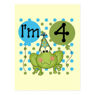 Blue Frog 4th Birthday Tshirts and Gifts Postcard