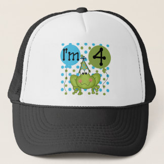 Blue Frog 4th Birthday Tshirts and Gifts Trucker Hat