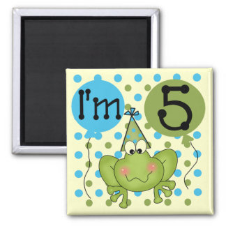 Blue Frog 5th Birthday Tshirts and Gifts 2 Inch Square Magnet