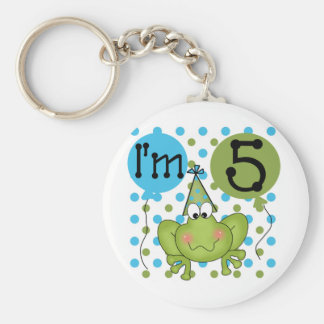 Blue Frog 5th Birthday Tshirts and Gifts Basic Round Button Keychain