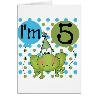 Blue Frog 5th Birthday Tshirts and Gifts Card