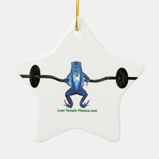 Blue Frog and Barbell Ceramic Ornament