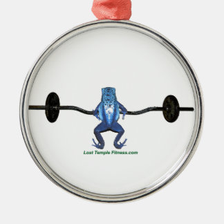 Blue Frog and Barbell Metal Ornament