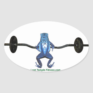 Blue Frog and Barbell Oval Sticker