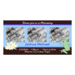 Blue Frog and Lotus Birth Announcement Photo Greeting Card