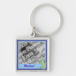 Blue Frog and Lotus Keychain