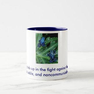 Blue Frog Cup. Two-Tone Coffee Mug