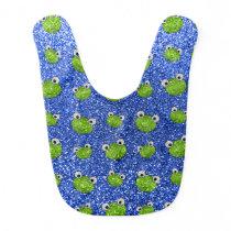 Blue frog head glitter pattern baby bib