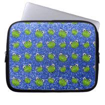 Blue frog head glitter pattern laptop sleeve
