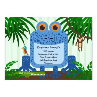 "Blue Frog Jungle Theme Birthday Invitation 5"" X 7"" Invitation Card"