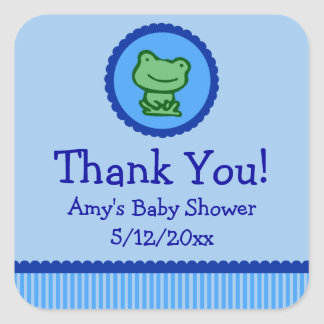 Blue Frog Personalized Baby Shower Favor Tags Square Sticker