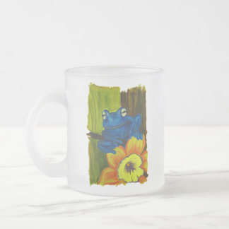 Blue frog relaxing on flower and tree branch frosted glass coffee mug