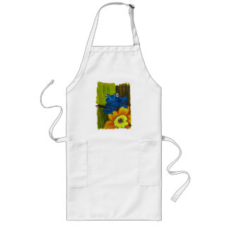 Blue frog relaxing on flower and tree branch long apron