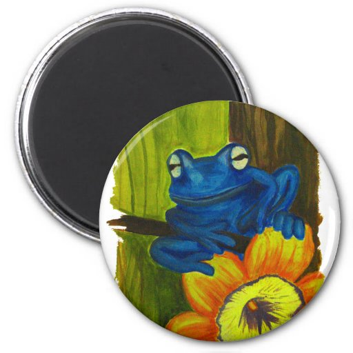 Blue frog relaxing on flower and tree branch refrigerator magnet