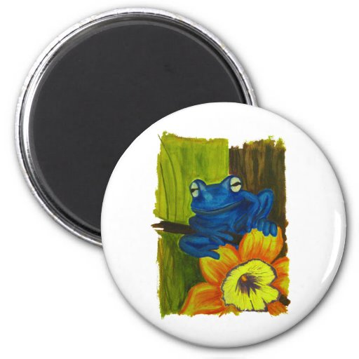 Blue frog relaxing on flower and tree branch refrigerator magnets