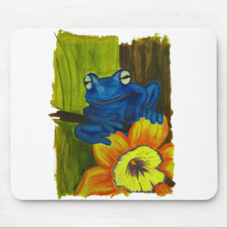 Blue frog relaxing on flower and tree branch mouse pad