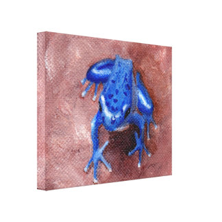 Blue Froggy Stretched Canvas Gallery Wrap Canvas