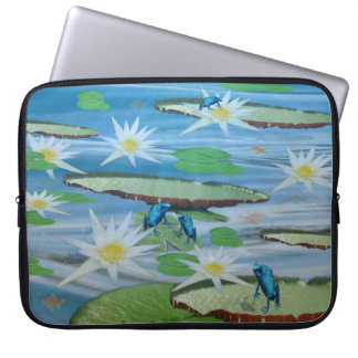 Blue Frogs On Lily Pads, Laptop Sleeve