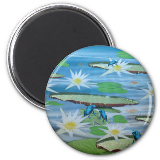 Blue Frogs On Lily Pads, Magnet