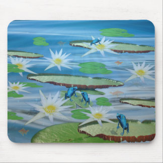Blue Frogs On Lily Pads, Mouse Pad