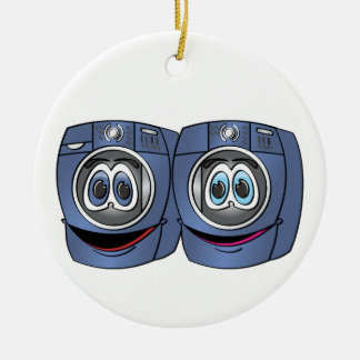 Blue Front Load Washer Dryer Cartoon Ceramic Ornament