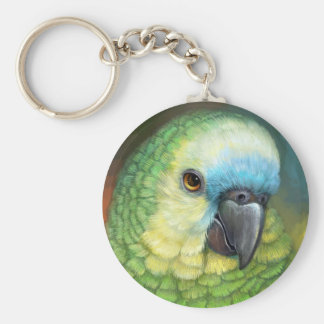 Blue fronted amazon parrot realistic painting basic round button keychain