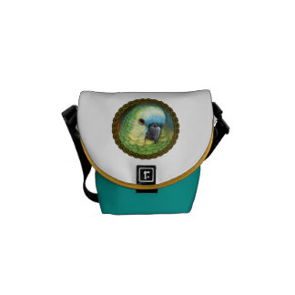 Blue fronted amazon parrot realistic painting messenger bag