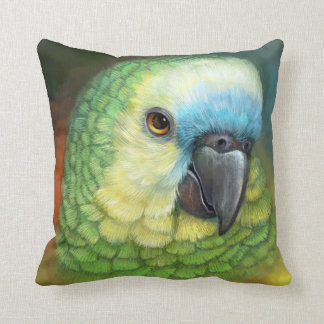 Blue fronted amazon parrot realistic painting throw pillow