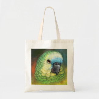 Blue fronted amazon parrot realistic painting tote bag