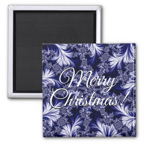Blue Frost Pattern Merry Christmas Magnet