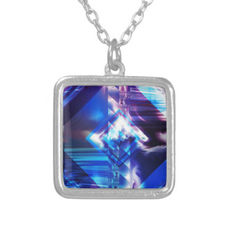 Blue Frost Square Pendant Necklace