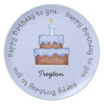 Blue Frosted Birthday Cake Plate Party Plate