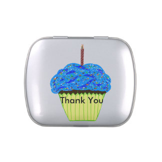 Blue Frosting Chocolate Cupcake & Candle Silver Jelly Belly Candy Tins