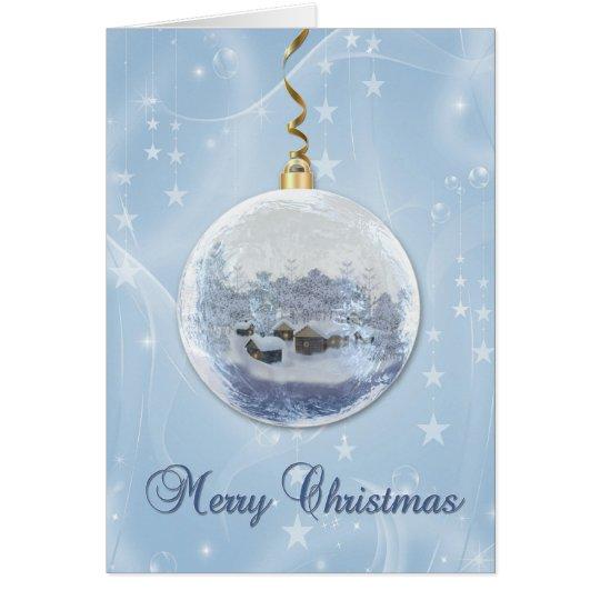 Blue Frosty Ornament, Winter Scene, Stars Card