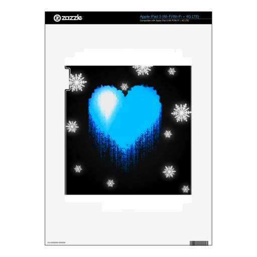 Blue Frozen Heart Skins For iPad 3