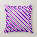 [ Thumbnail: Blue, Fuchsia, and Beige Striped/Lined Pattern Throw Pillow ]
