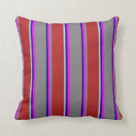 [ Thumbnail: Blue, Fuchsia, Grey, Red & Turquoise Colored Throw Pillow ]