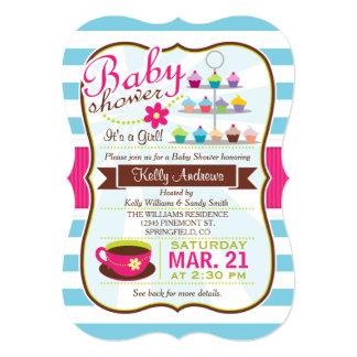 Blue & Fuchsia Pink Tea, Cupcake Baby Shower Card