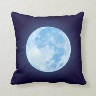Blue Full Moon Throw Pillow